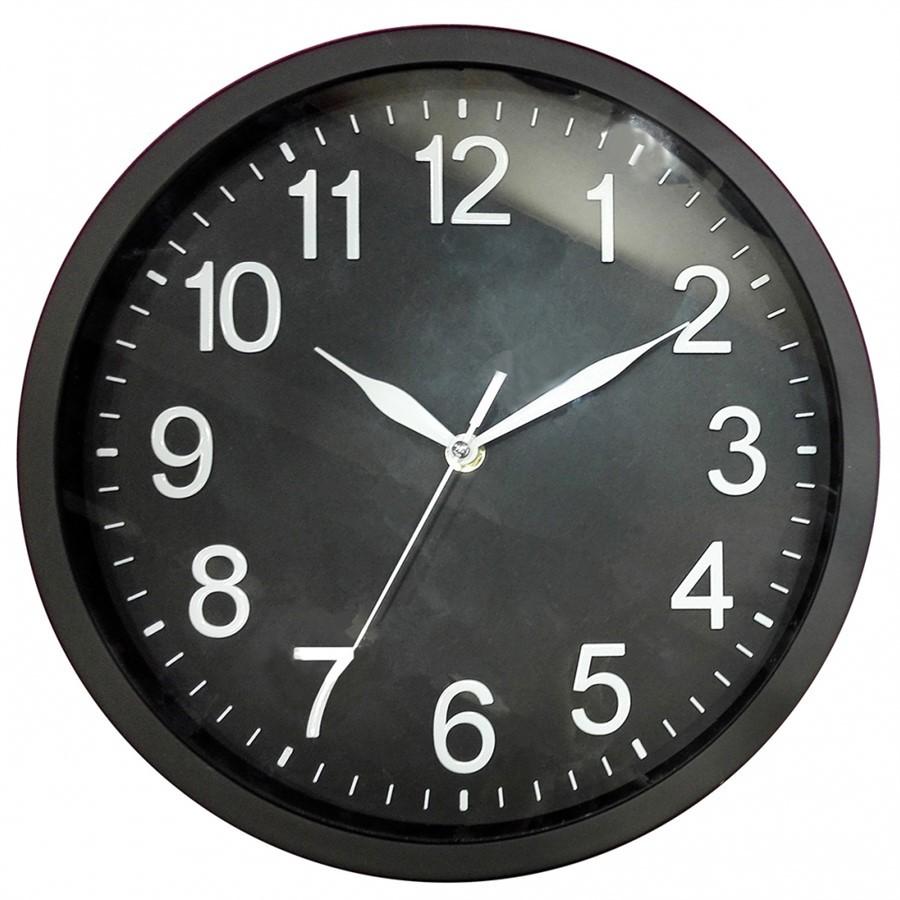 Relógio de Parede de Plástico Preto 30 cm