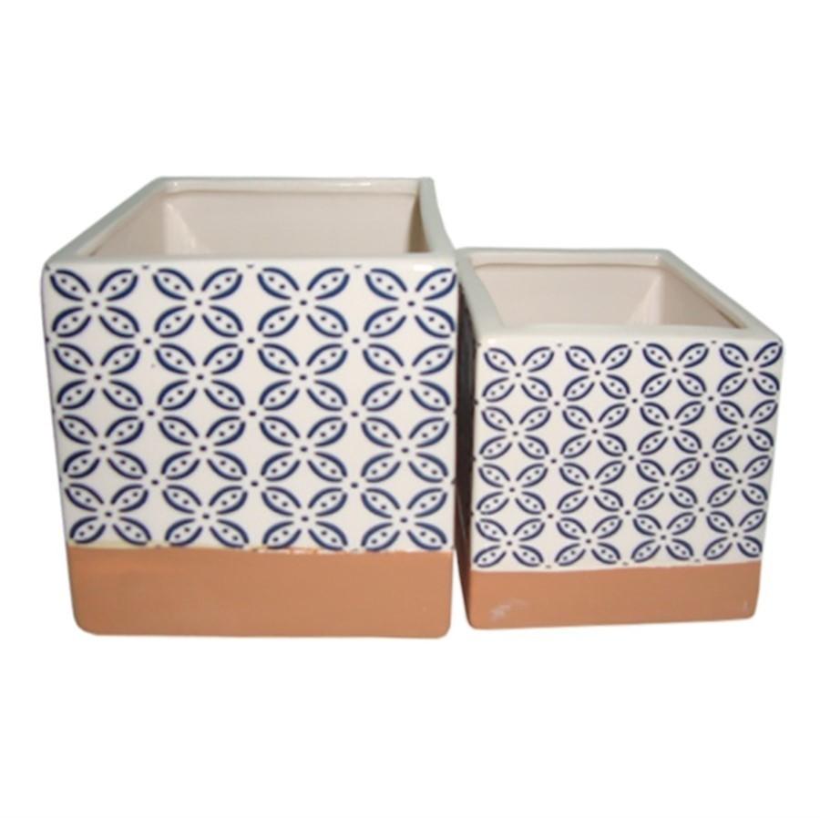 Cachepot Cerâmica Azul Quadrado