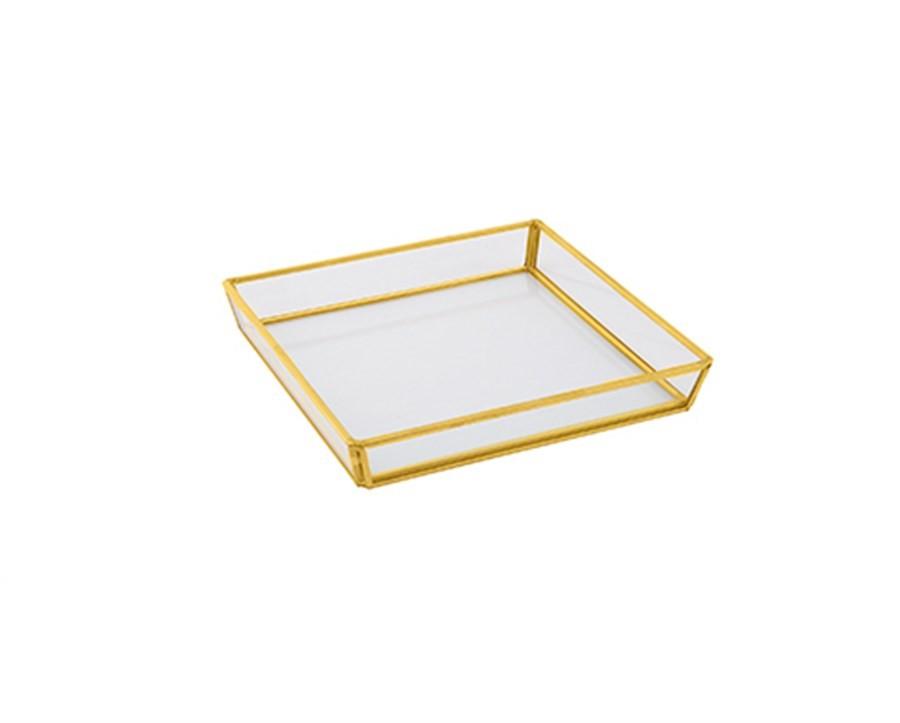 Bandeja de Vidro e Metal Dourada 17cm