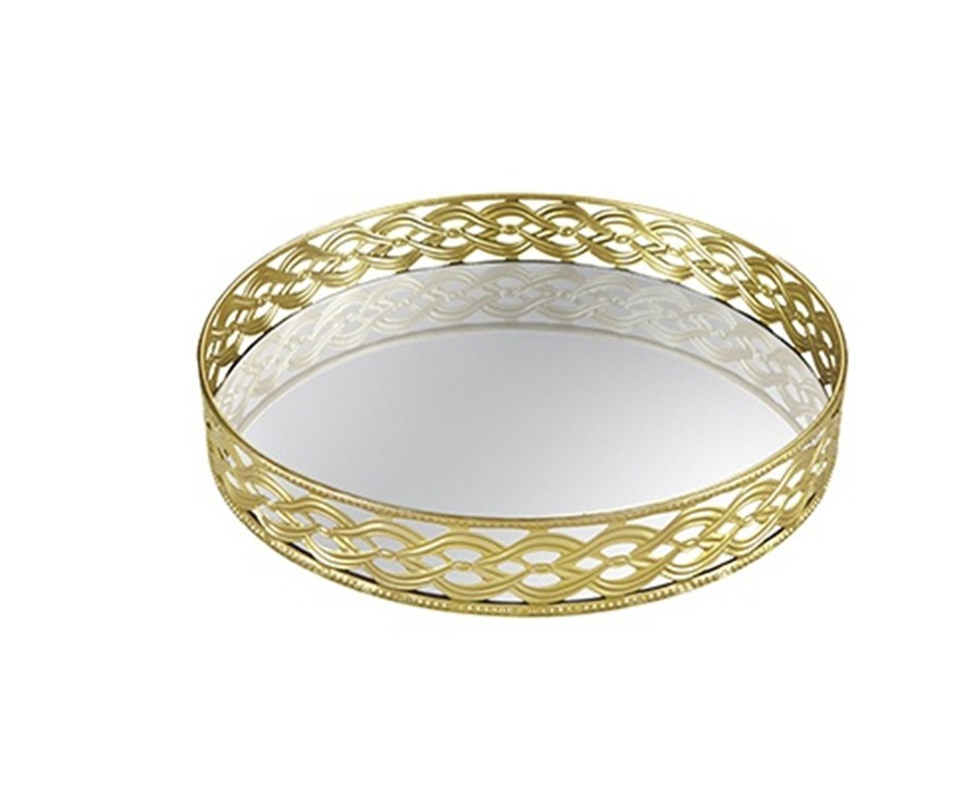 Bandeja Grade Dourada Metal C/ Espelho 28 CM