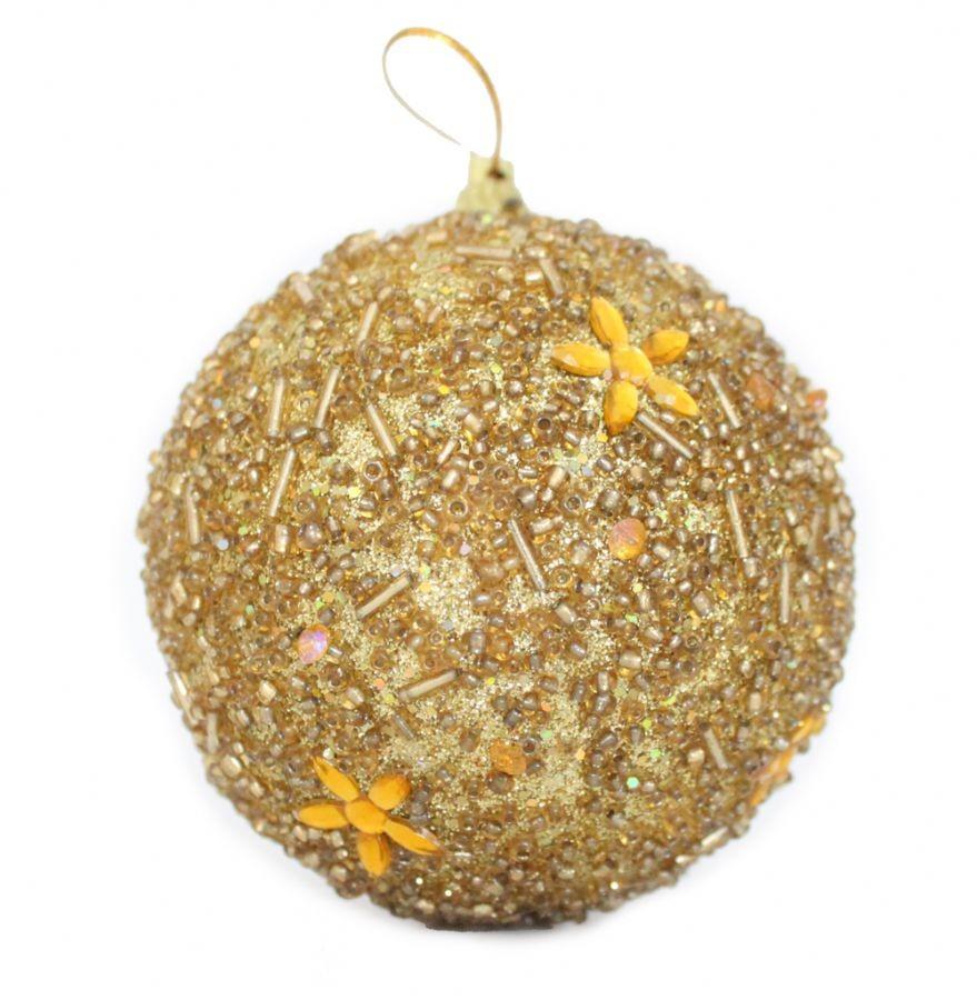 Set 6 Bolas de Natal Miçanga Gold