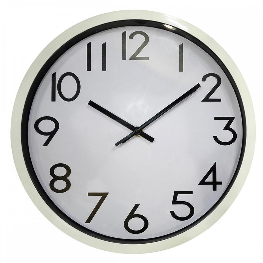 Relógio de Parede de Plástico Branco 35 cm
