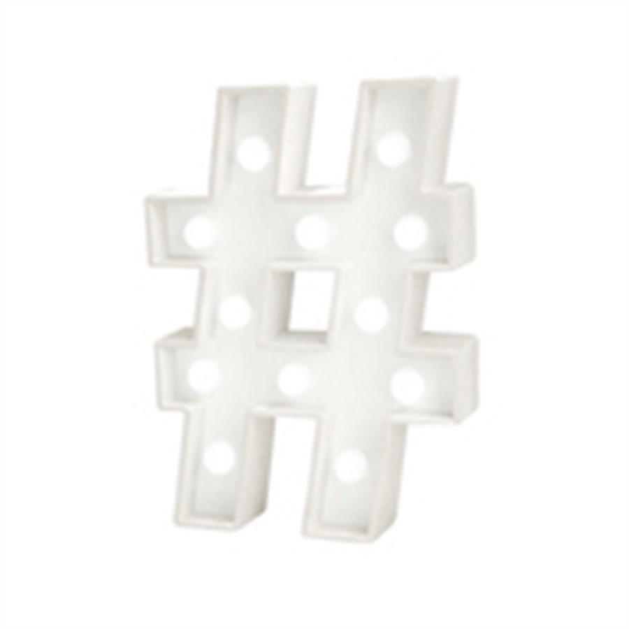 Mini Luminária Hashtag Branca