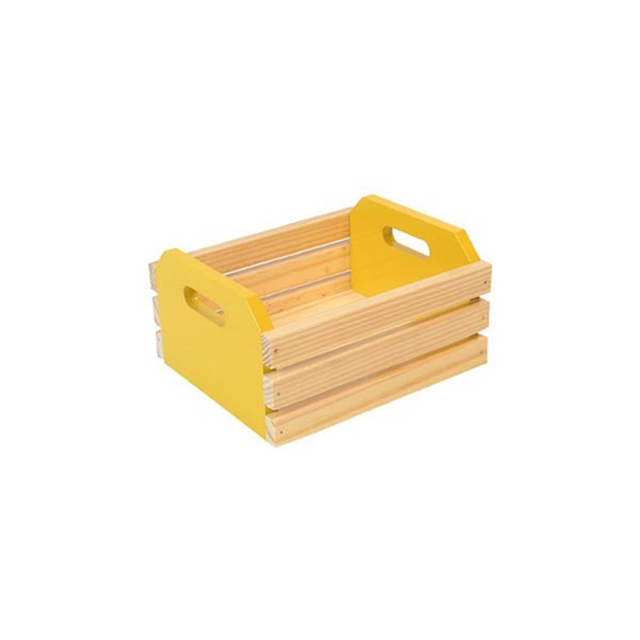 Caixote de Madeira Amarelo