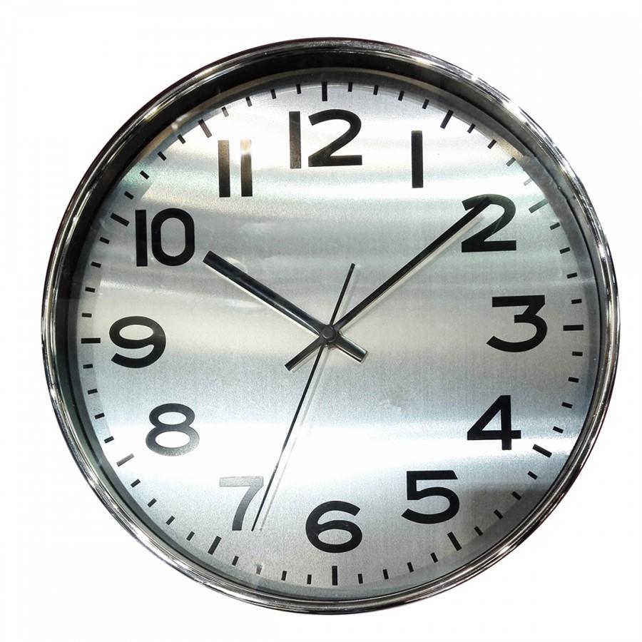 Relógio de Parede Plastico Cromado 35cm x 4cm