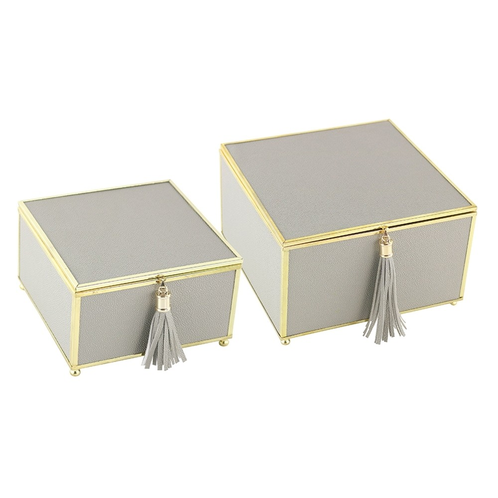 Caixa Decorativa Cinza Quadrada