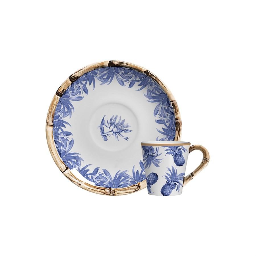 Jogo Xícara de Café Abacaxi Azul Royal 12pç