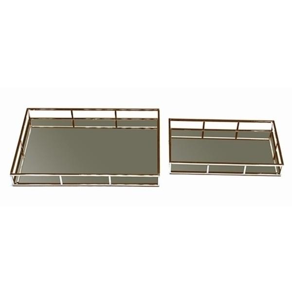 Bandejas Ferro Bronze Retangulares Espelhadas Obrigatórias