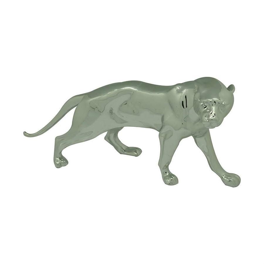 Escultura Resina Jaguar Prata 35cm