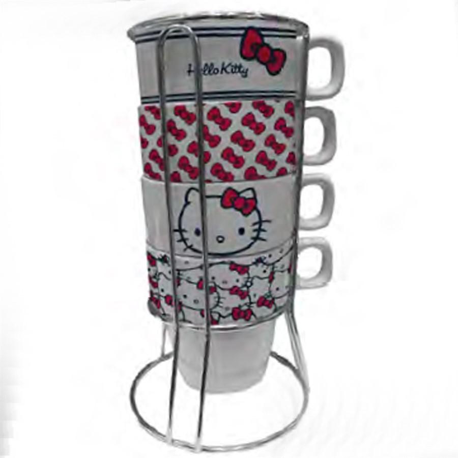 Set C/5pçs Xicara Cerâmica Hello Kitty 225 ML