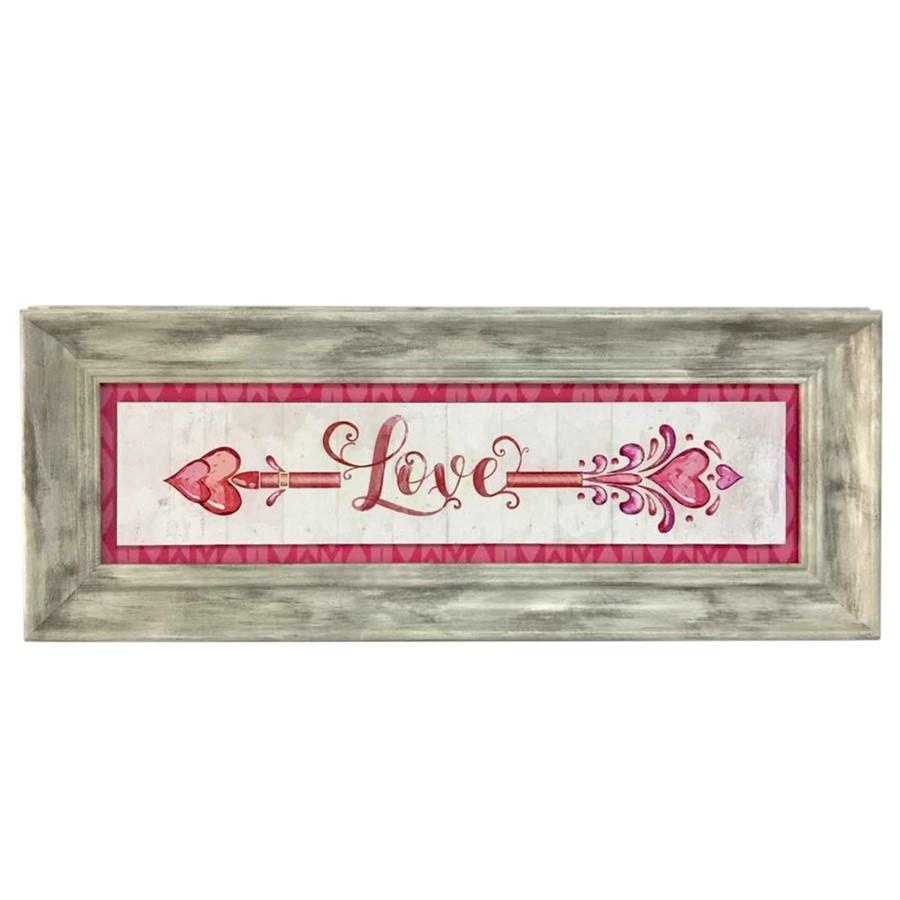 Quadro retangular love rosa 46,5cm x 18,5cm