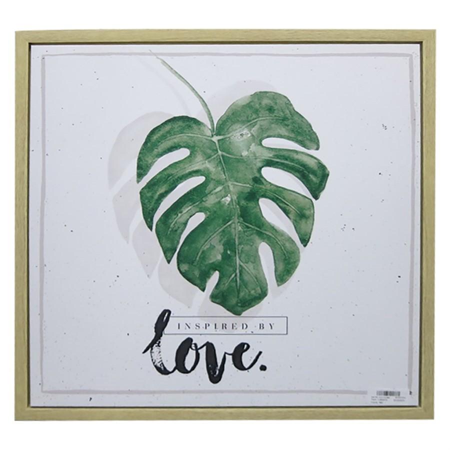 Quadro Leaves and Love verde 40cm x 40cm