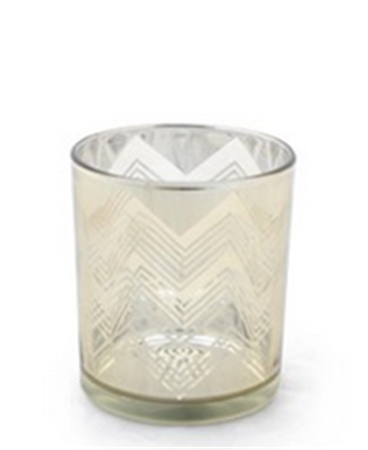 Porta vela dourado em vidro 10cm x 9cm
