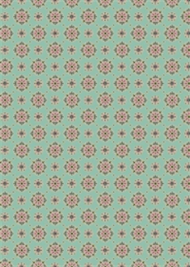 Tecido Adesivo Flor Vintage Verde 1m