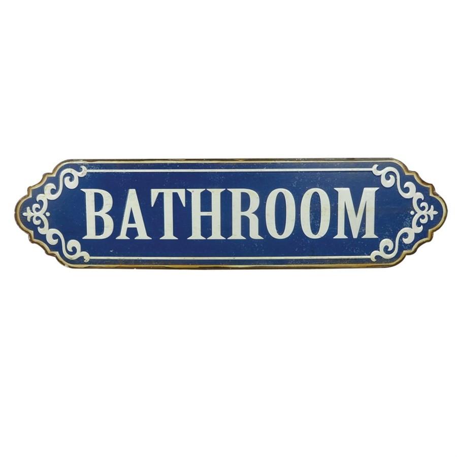 Placa de Metal Bathroom Azul