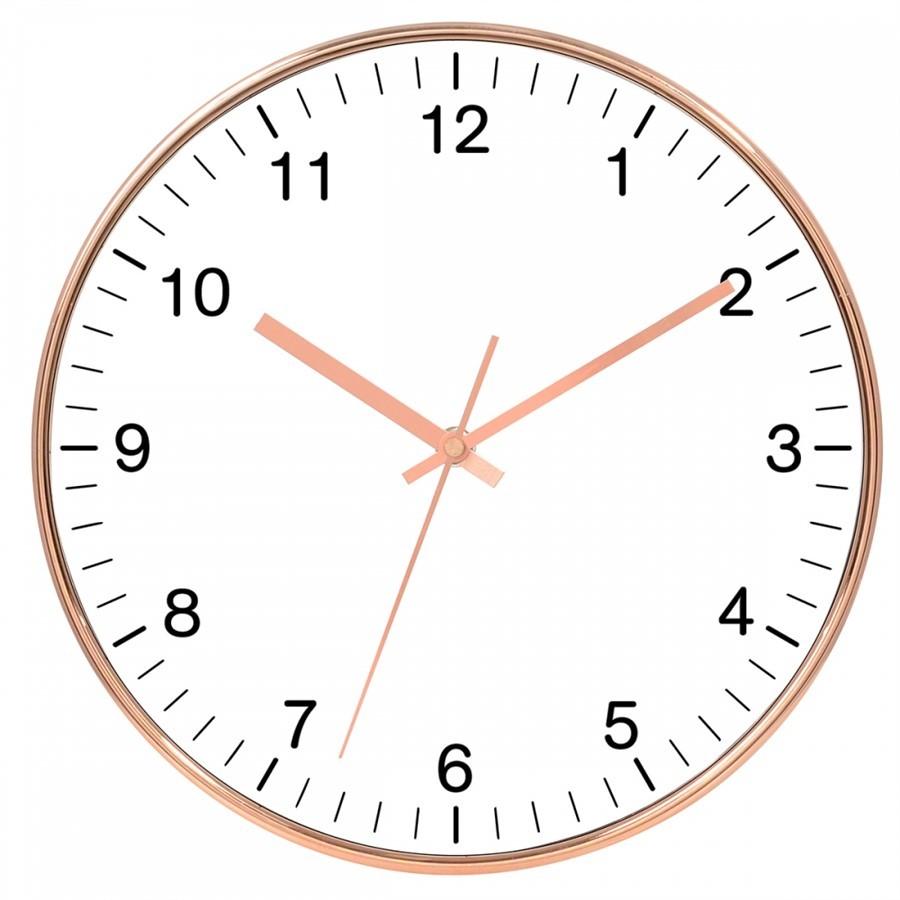 Relógio de Parede Cobre e Branco 30CM X4CM