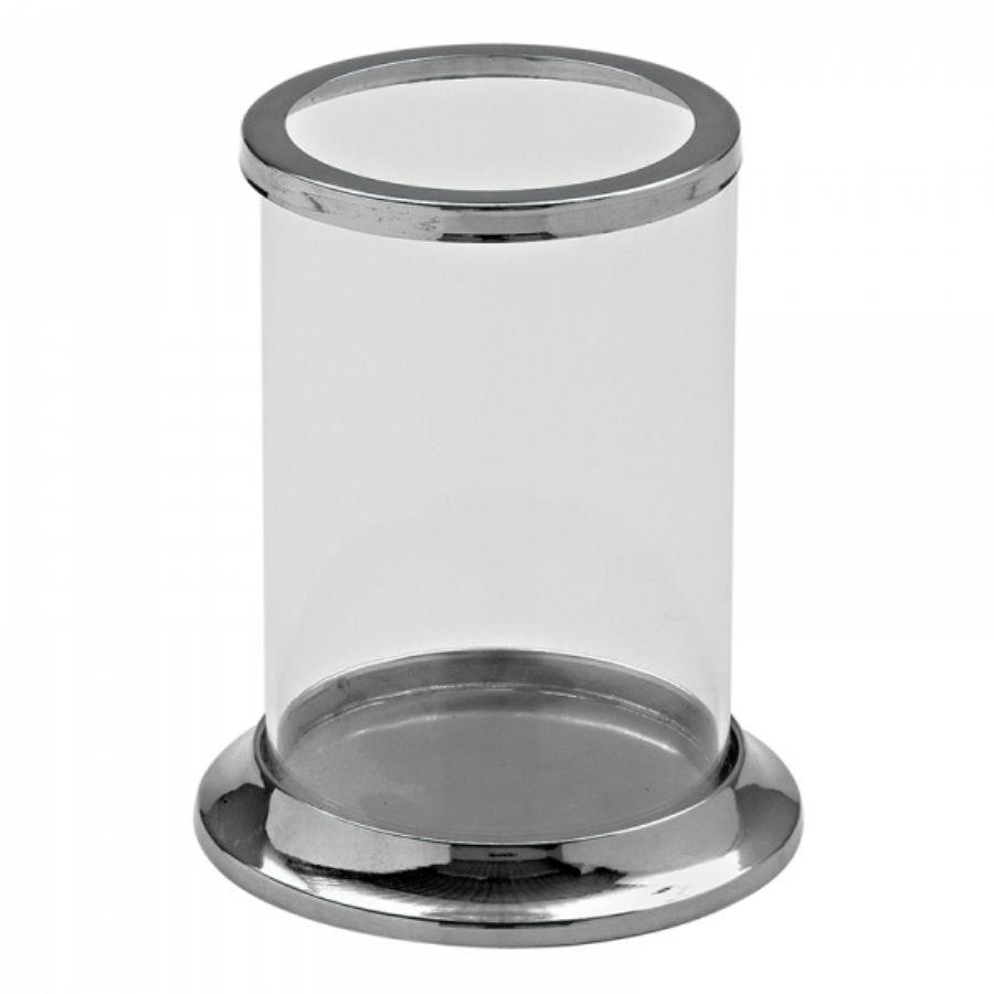 Castiçal de Vidro e Metal