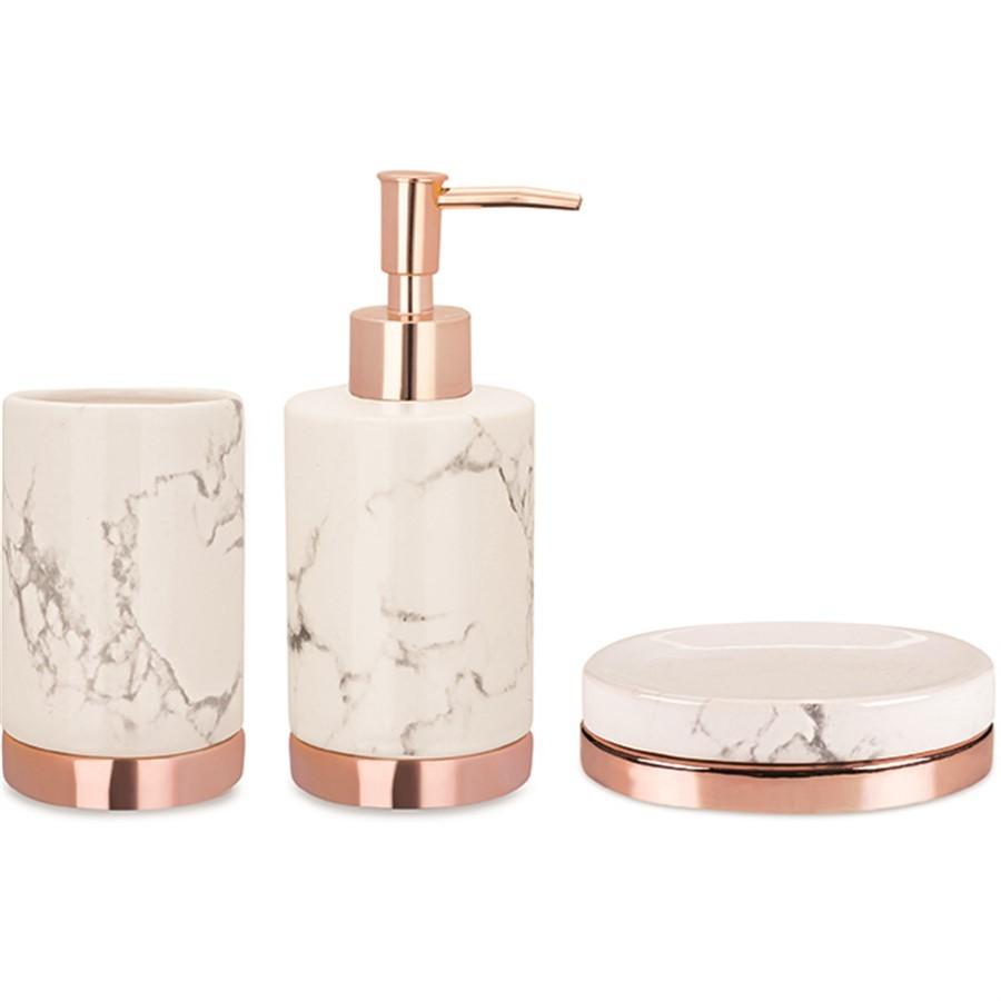 Kit Banheiro Branco e Rose - 3 pçs