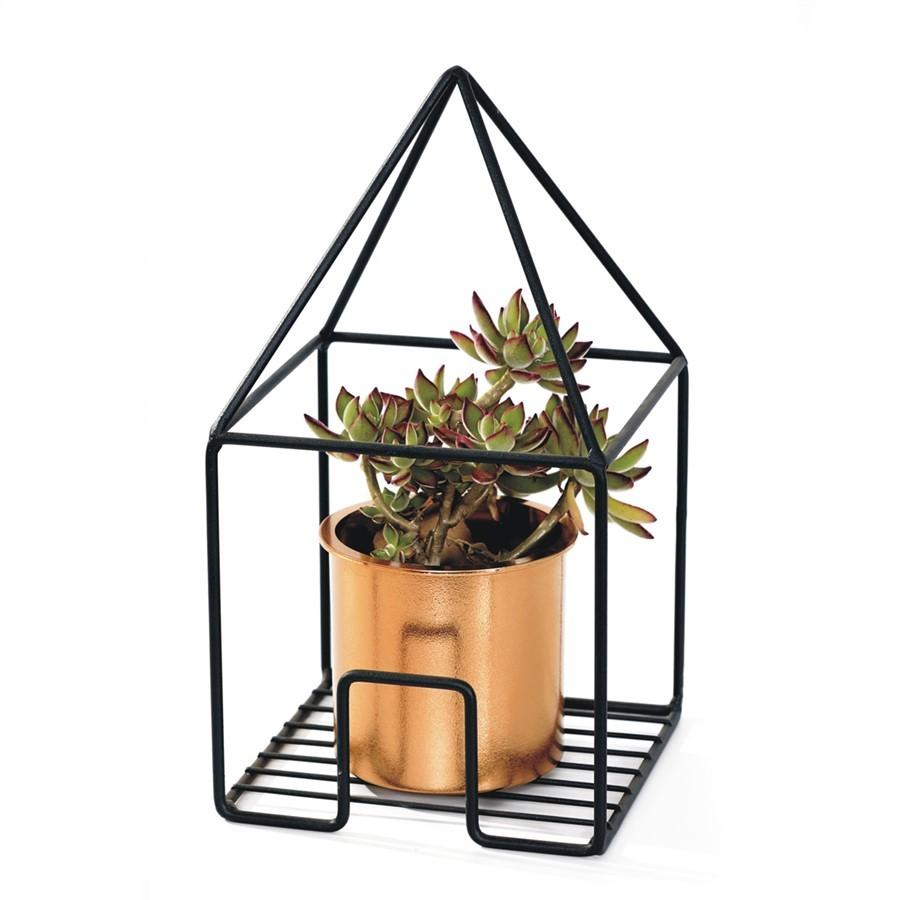 Vaso metal geotrétrico triângulo
