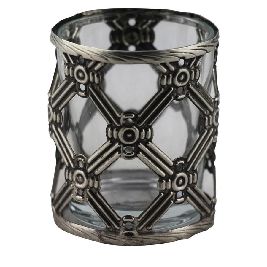 Castiçal de Vidro e Metal Prata 6cm ll
