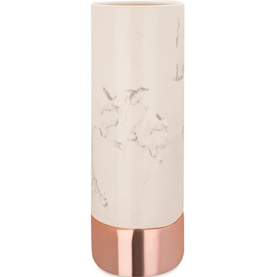Vaso Mármore Branco e Rose 25x9cm