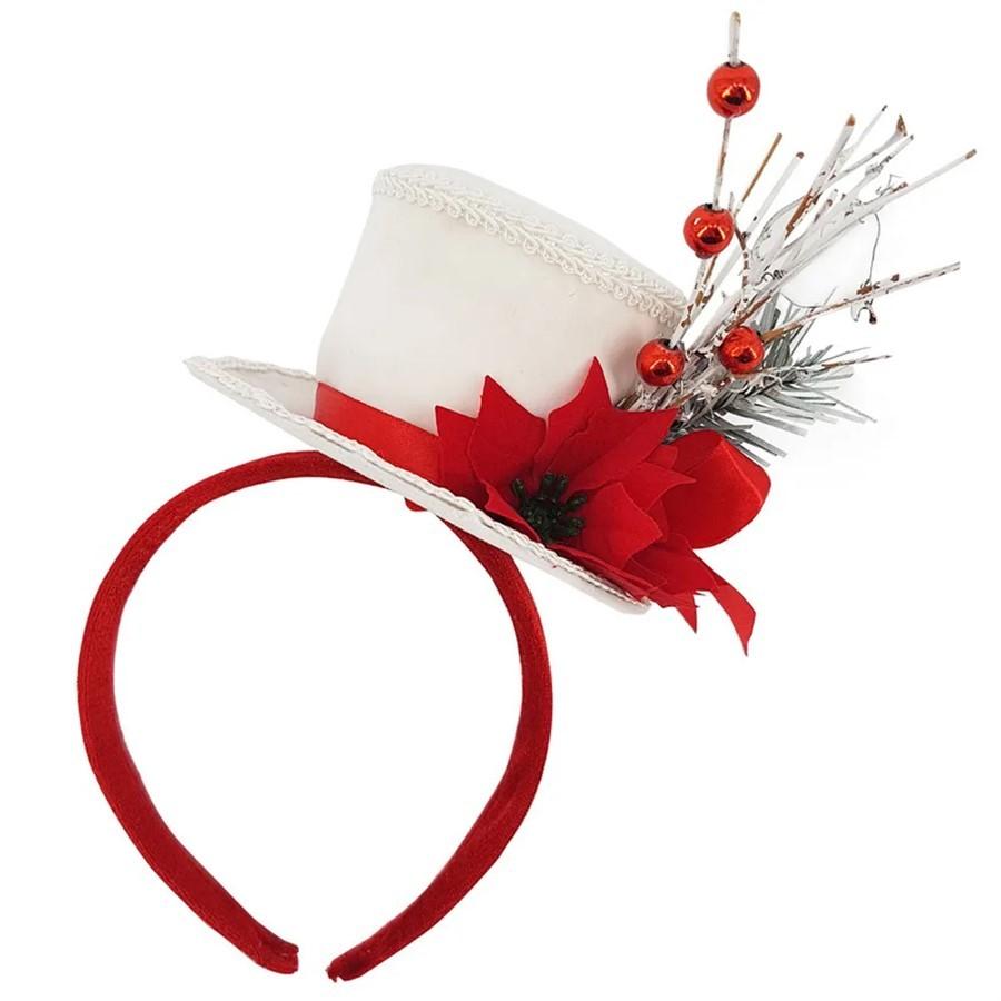 Tiara Decorativa C/Chapéu Branco