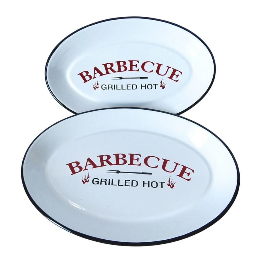 Bandeja Metal Esmaltado Barbecue Branco