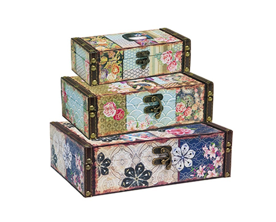 Caixas Baú Flores Kokeshi G