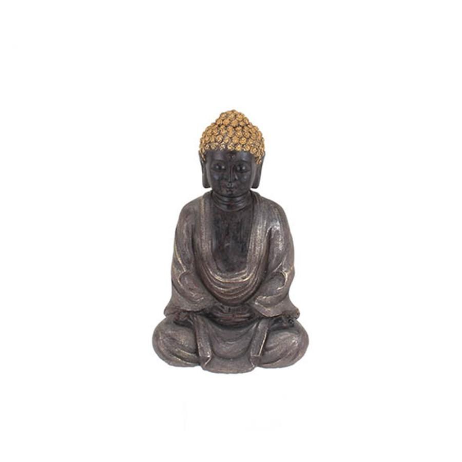 Escultura Sentado Buddha Cinza 27cm