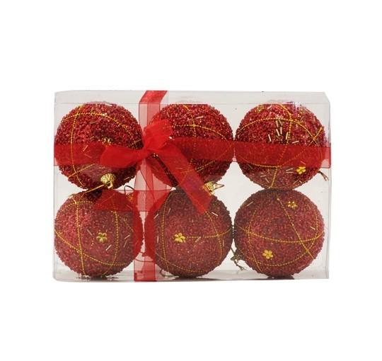 Set 6 Bolas de Natal Miçangas Vazadas Vermelho