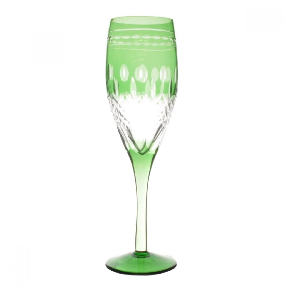 Taça de Cristal Coloridas Para Champagne II-Verde