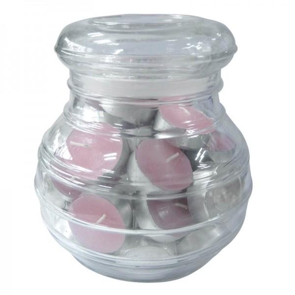 Pote de Vidro com 45 Velas Rosa Aromatizadas