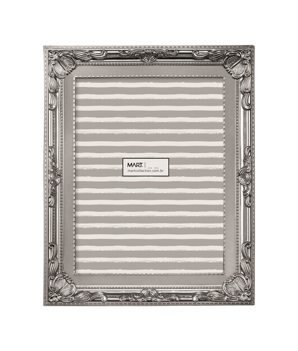 Porta Retrato Retrô Prata 13x18cm