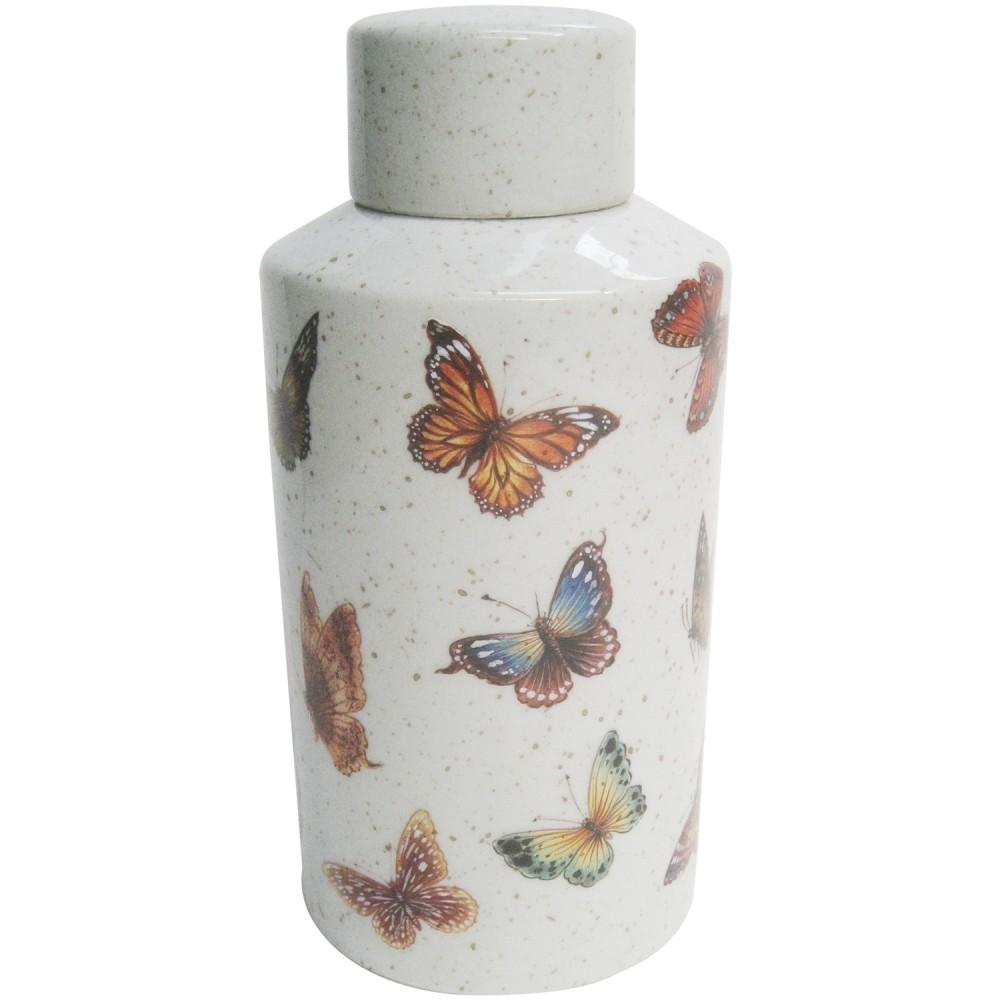 Pote Decorativo Cerâmica Borboletas 14x30cm
