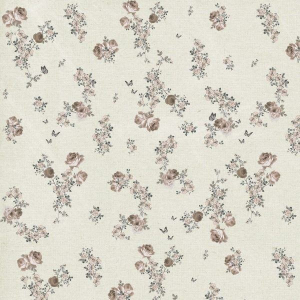 Tecido Adesivo Floral Bege 1m