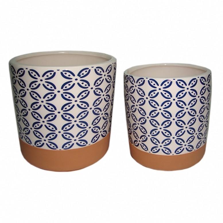 Cachepot Cerâmica Azul Redondo I