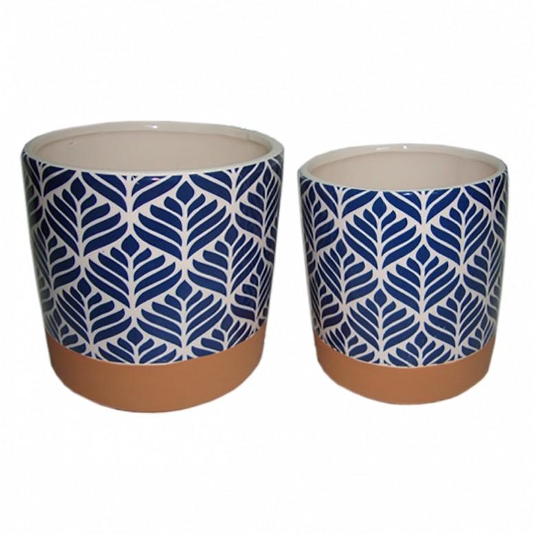 Cachepot Cerâmica Azul Redondo 2