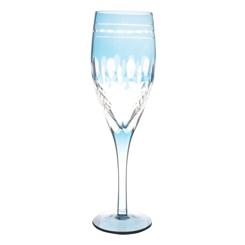 Taça de Cristal Coloridas Para Champagne II-Azul