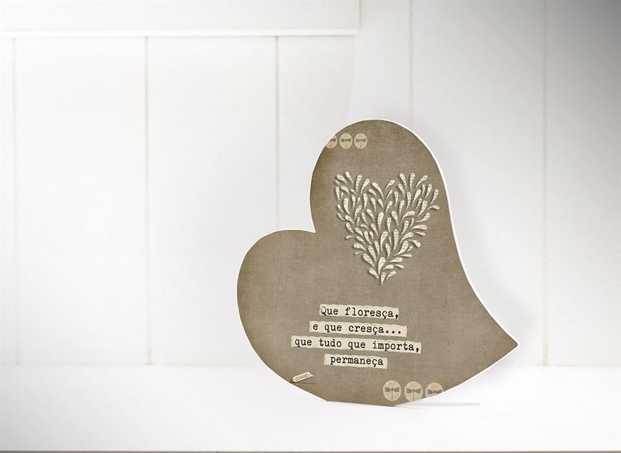 """Placa De Mesa Coração """"que Floresça..."""""""