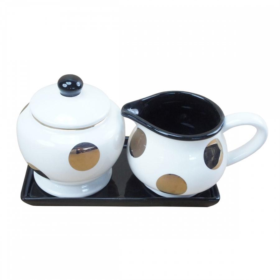 Kit Café Detalhe Dourado 3pçs