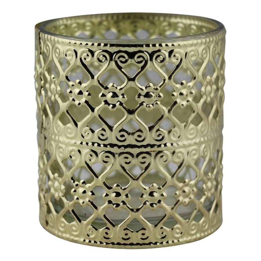 Castiçal de Metal e Vidro Dourado  7,5CMX8CM