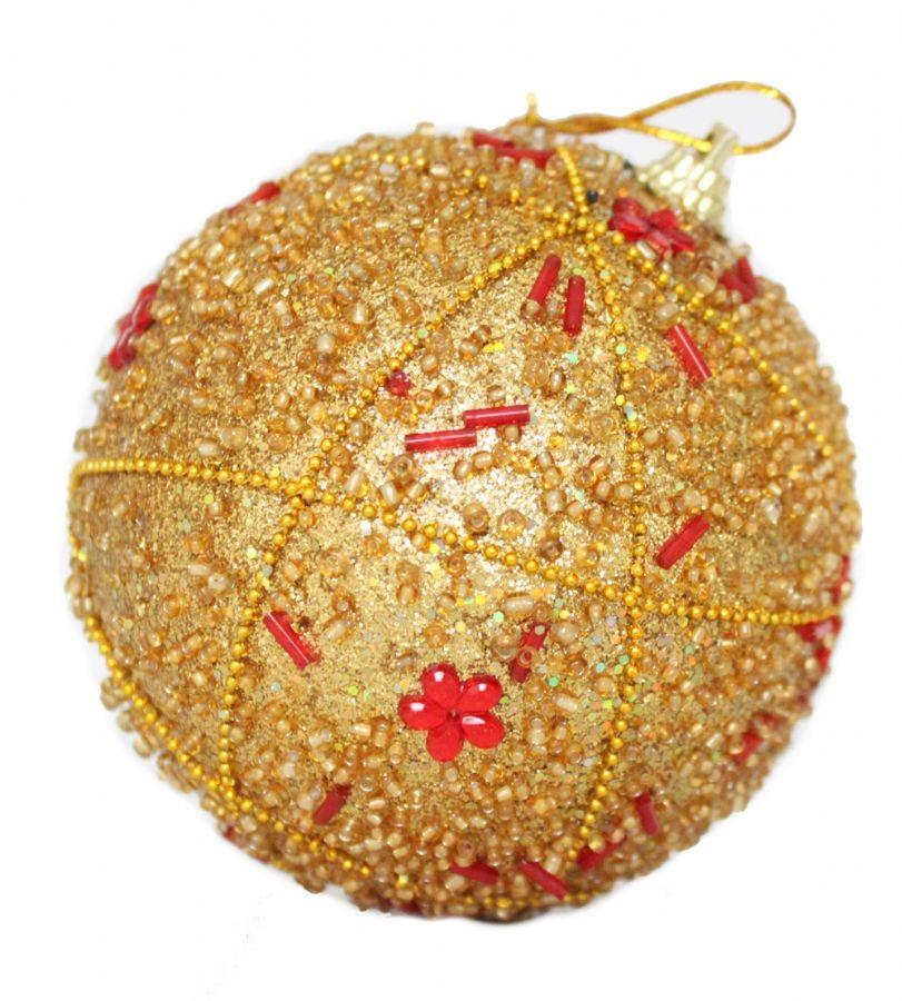 Set 6 Bolas de Natal Miçangas Costura Gold