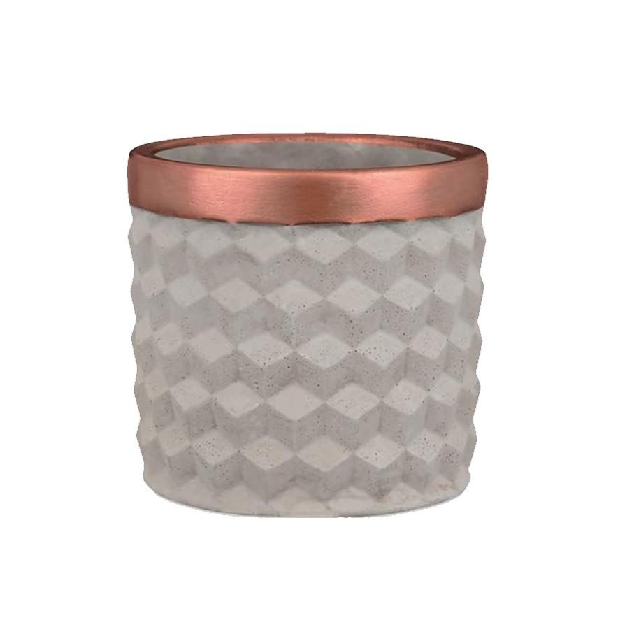 Cachepot Bege de Cimento Pequeno