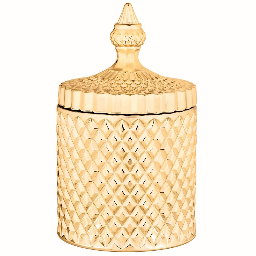 Pote Dourado de Vidro 10x18cm