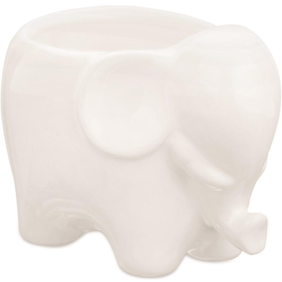 Cachepot Elefante Branco Cerâmica