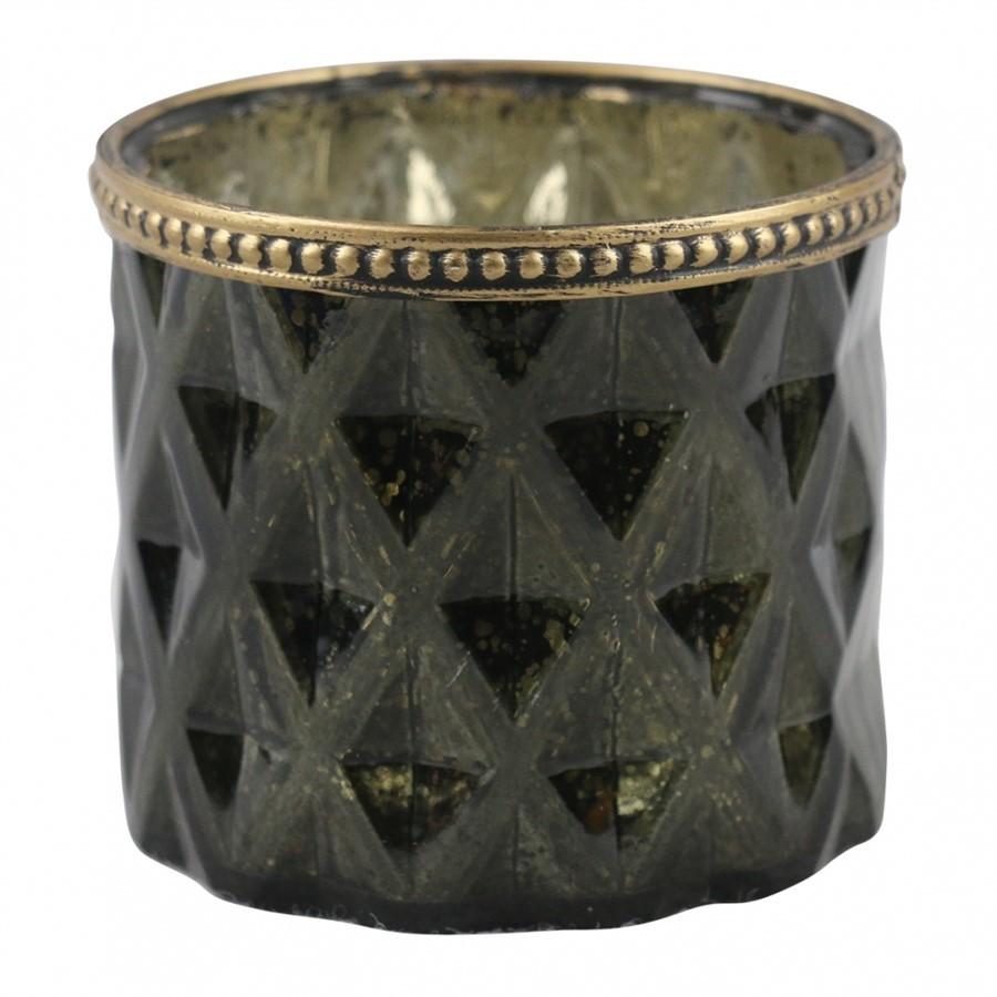 Castiçal Vidro Verde C/ Dourado