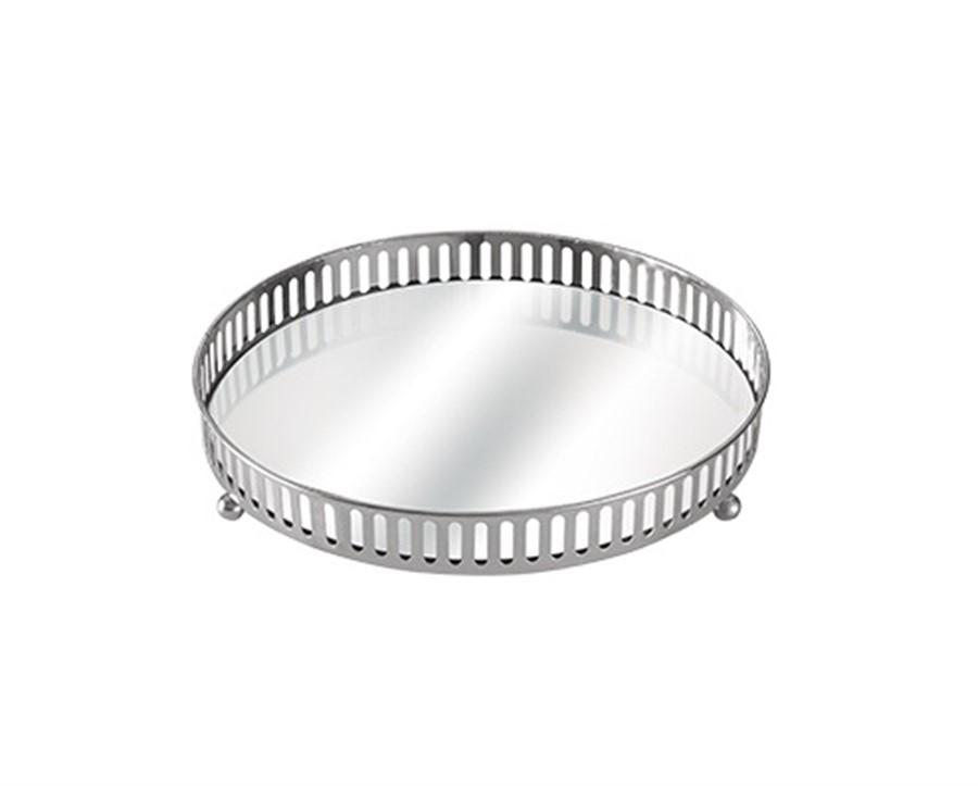 Bandeja Grade Prata C/ Espelho 25 CM