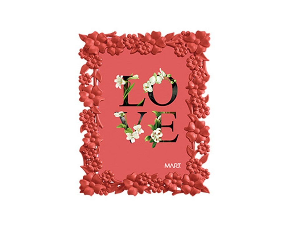 Porta Retrato Flores Vermalho 10x15cm