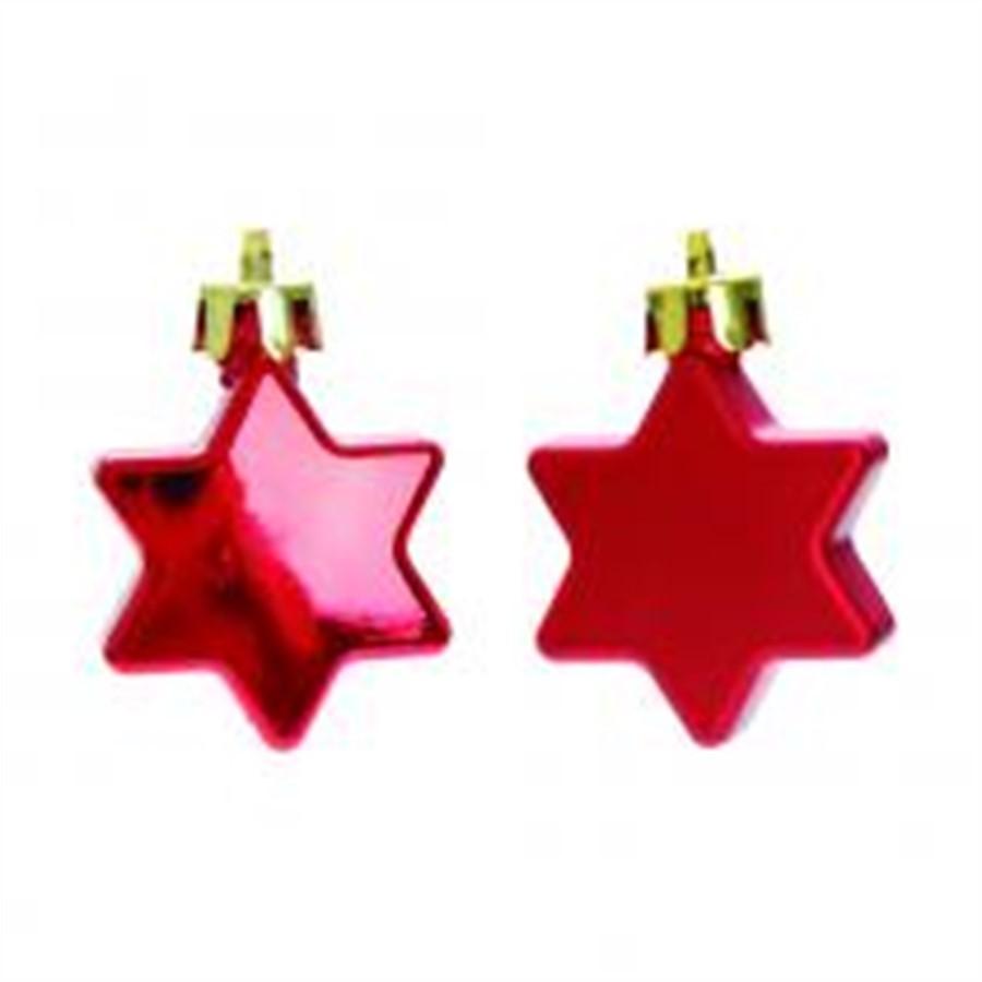 Pendente estrela hexagonais vermelha conj. c/ 20