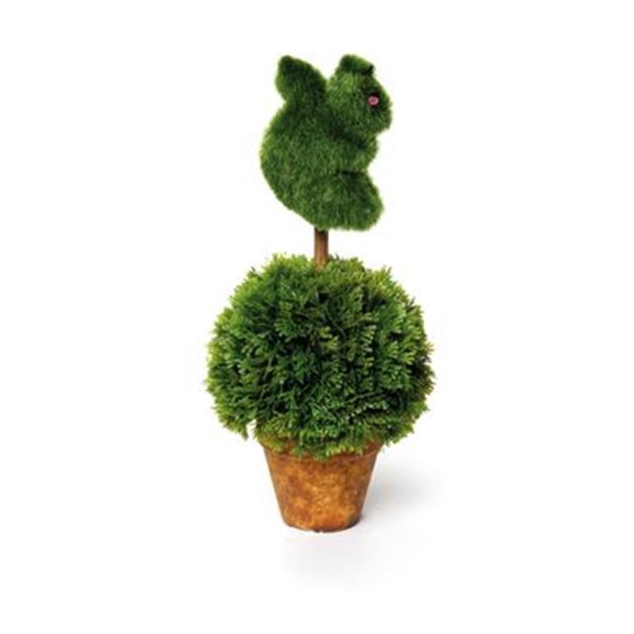 Vaso com planta artificial e esquilo